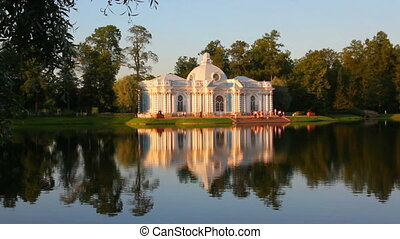 pavilion on lake in Pushkin park St. Petersburg Russia