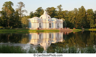 pavilion on lake, Pushkin park St. Petersburg Russia -...