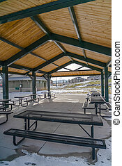 Pavilion with picnic tables in Eagle Mountain Utah