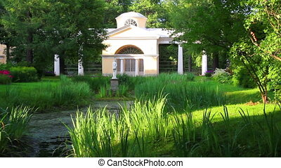 pavilion with sculpture in Pavlovsk park Saint-Petersburg...