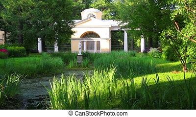 pavilion with sculpture in Pavlovsk park Saint-Petersburg Russia