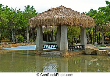 Pavilion with thatch roof