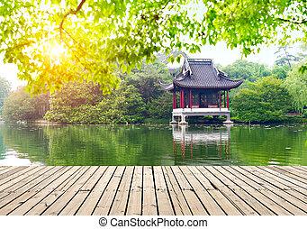 Pavilions Hangzhou, China - Hangzhou west lake side of the...