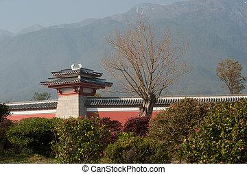 Pavillion on the wall of Chongsheng temple .