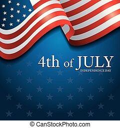 pavillon états uni, 4ème, fond, juillet, amérique