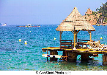 pavillon, dans, a, plage