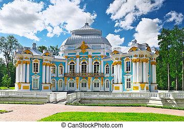 pavillon, einsiedelei, str., tsarskoe, petersburg, russland,...