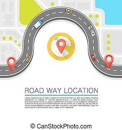 pavimentado, trayectoria, en, el, road., vector, plano de...