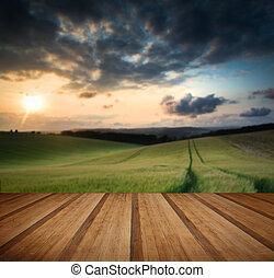 pavimento, campagna, sopra, legno, tramonto, assi, paesaggio