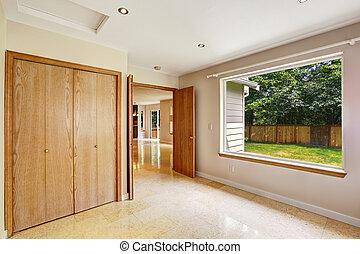 pavimento, grande, interno, finestra, camera letto, piastrella, marmo, vuoto