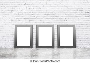 pavimento, immagini, cornice, su, parete, concreto, nero, vuoto, mattone bianco, beffare