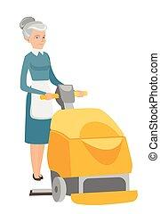 pavimento, lavoratore, macchina, pulizia, caucasico, negozio