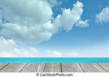pavimento legno, con, mare, fondo.