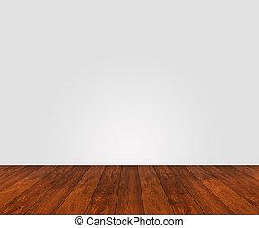 pavimento legno, con, parete bianca