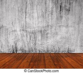 pavimento legno, con, parete concreta