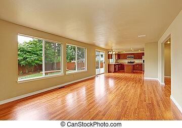 pavimento, legno duro, casa, interno, nuovo, vuoto