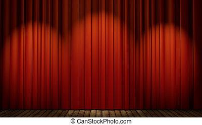 pavimento, legno, tenda, palcoscenico, rosso, 3d