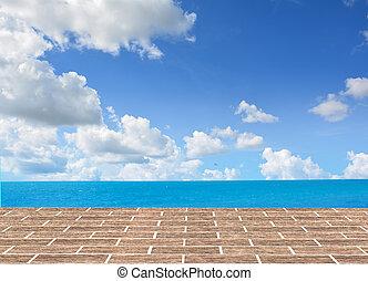 pavimento mattone, con, mare, fondo.