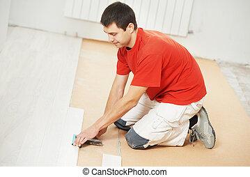 pavimento parchè, lavoratore, con, legno, asse