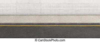 pavimento, pared, fondo, calle