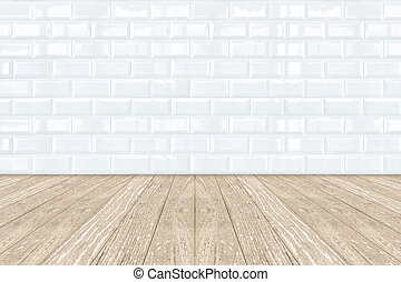 pavimento, parete, ceramica, legno, piastrella, mattone bianco