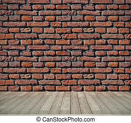 pavimento, parete, legno, mattone