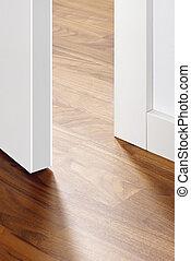 pavimento, porta aperta, legno