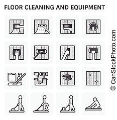 pavimento, pulizia, icona