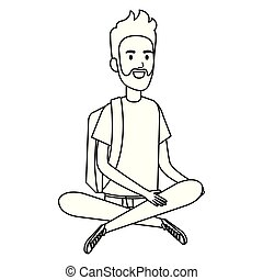 pavimento, seduta, carattere, avatar, studente, uomo