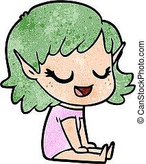pavimento, seduta, elfo, ragazza, cartone animato, felice