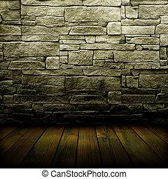 pavimento, vecchio, parete