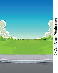 pavimento, y, parque verde, plano de fondo