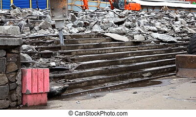 paving breaker destroy  stair