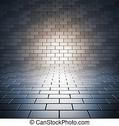 Paving empty surface. A 3d illustration blank template of empty tile place with light.