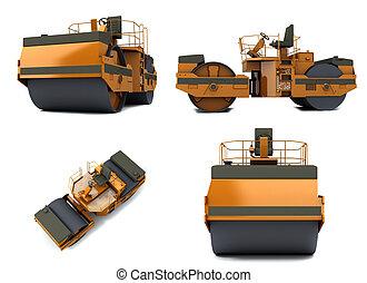 Paving machine - Orange paving machine isolated on white ...