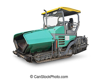 paving machine - asphalt finisher in white back with shadow
