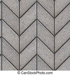 Gray Figured Parallelogram Pavement Laying as Spikelet . Seamless Tileable Texture.