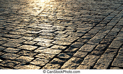 Paving stone and sunlight