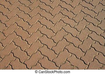 Close up of the paving stones showing unique design.