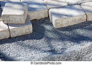 Paving stones on a construction site