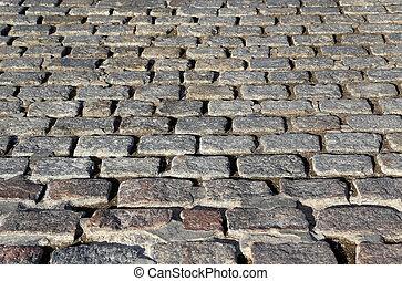 Paving stones street closeup background