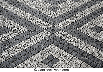 Paving stones street with pattern texture