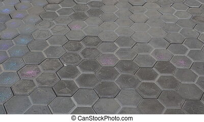 paving tiles with colored light