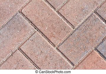 pavior, イメージ, の上, 赤, 終わり, ブロック, 私道