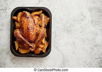 pavo, acero, papas, negro, pollo asado, molde, o