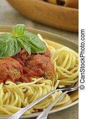 pavo, albóndiga, Espaguetis, cena