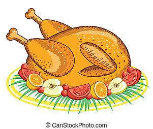 pavo, alimento, acción de gracias, aislado, diseño, blanco, .vector