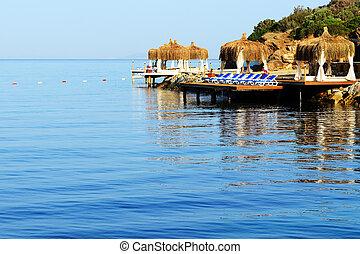pavo, bodrum, turco, mediterráneo, recurso, playa
