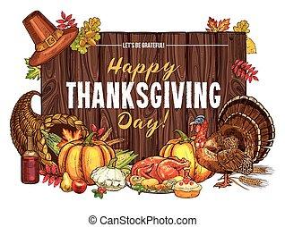 pavo, bosquejo, acción de gracias, saludo, vector, cosecha