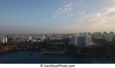 pavo, ciudad, aéreo, escena, urbanizado, costa, mar, primer ...
